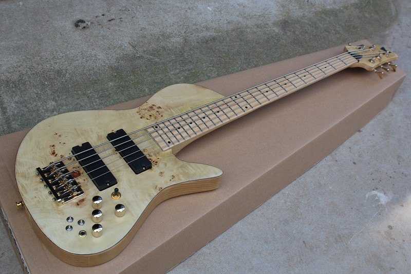 China guitar factory custom 100% New Natural Wood Burl pattern Fodera Butterfly 5 Strings Electric Bass Guitar free shipping