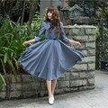 Vintage 50 s 60 s Elegante Estilo Preppy Mujeres Del Vestido Largo Maxi Imperio Fajas de Cuello de Peter Pan Vestidos Fladas