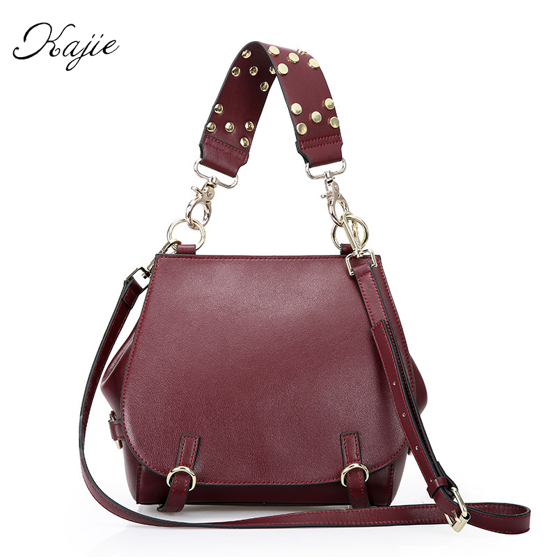 Kajie 2017 Summer Vintage Genuine Cowhide Leather Ladies Small Handbag Women Designer Bolsas Femininas Bolsas De Marcas Famosas women fashion rivet punk style handbag ladies grace elegant luxury messenger bag bolsas de marcas famosas feminina cymakaxa1004d