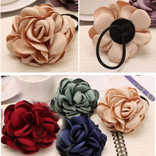 Women Elegant Floral Headwear Rubber Band Girls GFabric Big Rose Elastic Hair Band Rope Ponytail Holder Scrunchie Accessories cohiba big band