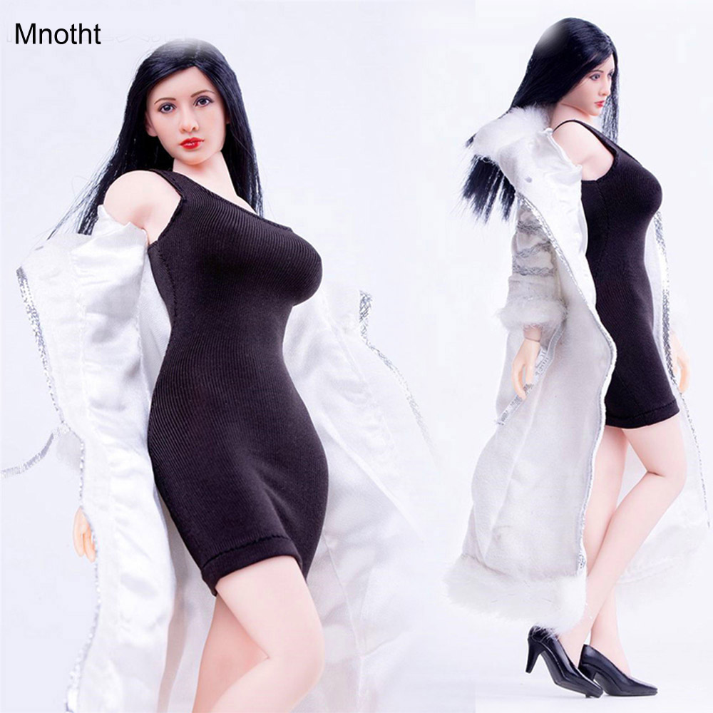 Mnotht 1/6 Female Solider Dolls Clothing Fashion White Long Jacket Dress Suit for 12in Figures Large  Female Body Wear Chest L30 mnotht 1 6 scale female body figures