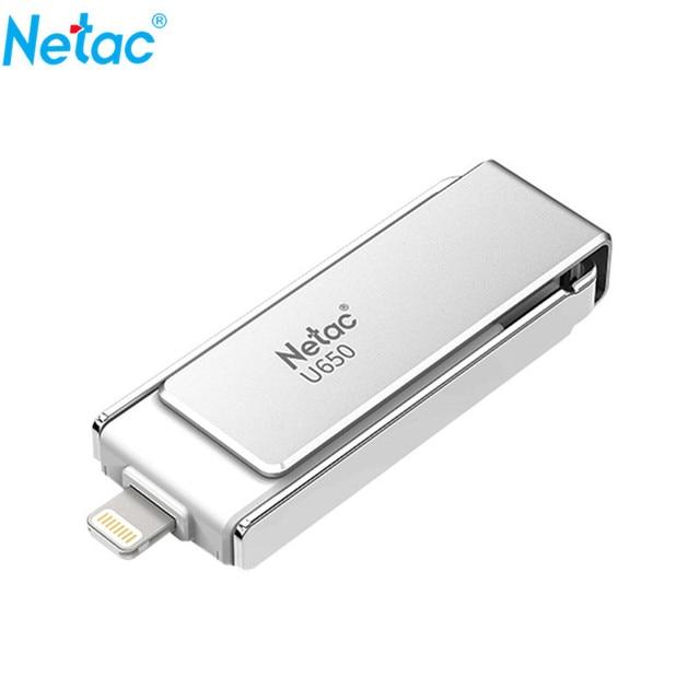 Netac U650 Lightning OTG USB Flash Drive 64GB USB3.0 PenDrive for iPhone/iPad/iPod Apple MFI Certified U Memory Stick