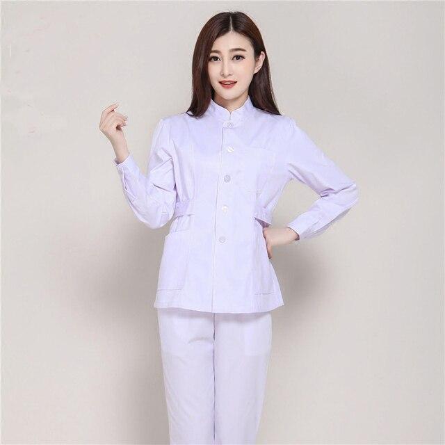 2017 desain baru berdiri kerah lengan panjang perawat for Baju uniform spa