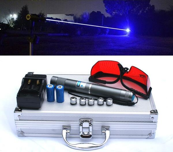 High power blue laser pointers 450nm burn match/dry wood/black plastic/cigarettes+5 star caps+glasses+charger+box