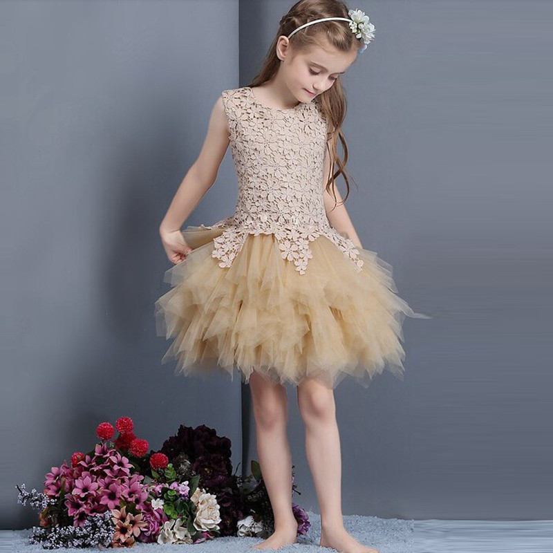 2019 New Champagne Lace Flower Girl Dresses for wedding Lace Applique Birthday Party Dress vestidos Custom Made Pageant Gown недорого