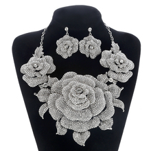 hot deal buy bridal jewelry sets for women crystal rhinestone exaggerated flower wedding necklace and earrings sets female party jewelry sets