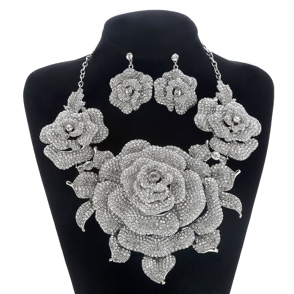 Bridal Jewelry Sets for Women Crystal Rhinestone Flower Wedding Prom Necklace and Earrings Sets Female Party Jewelry Sets a suit of vintage rhinestone artificial crystal necklace ring and earrings for women