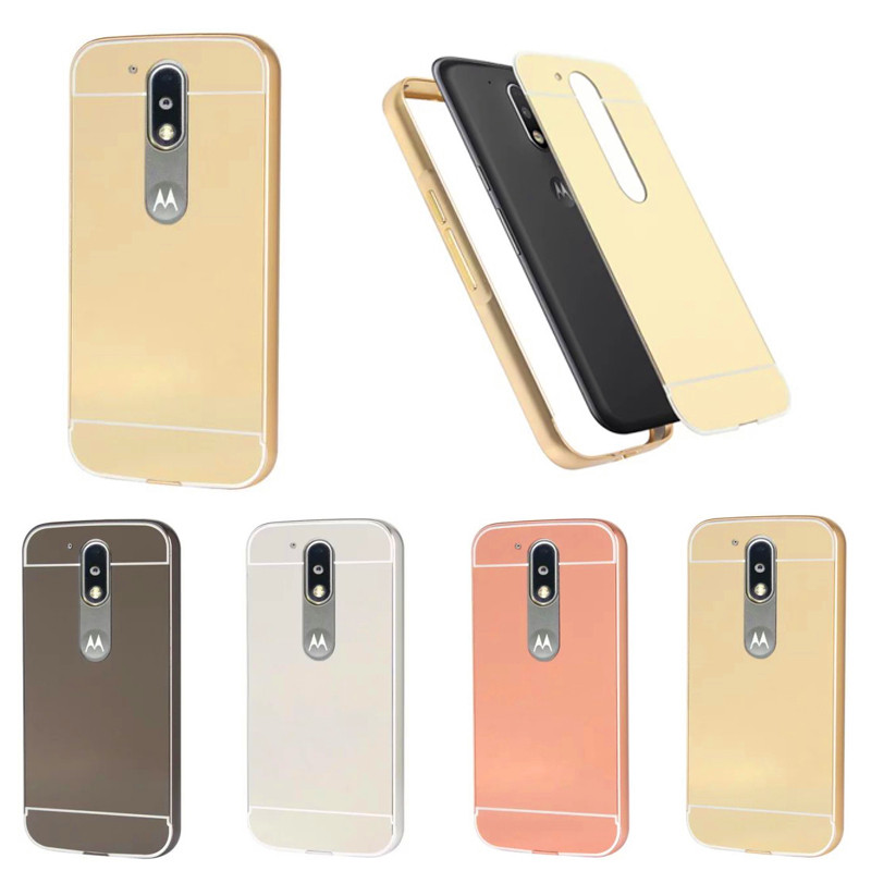 moto 4 phone case. for moto g 4 g4 case plating metal aluminum frame with mirror back cover hard phone motorola / plus 5.5\ r