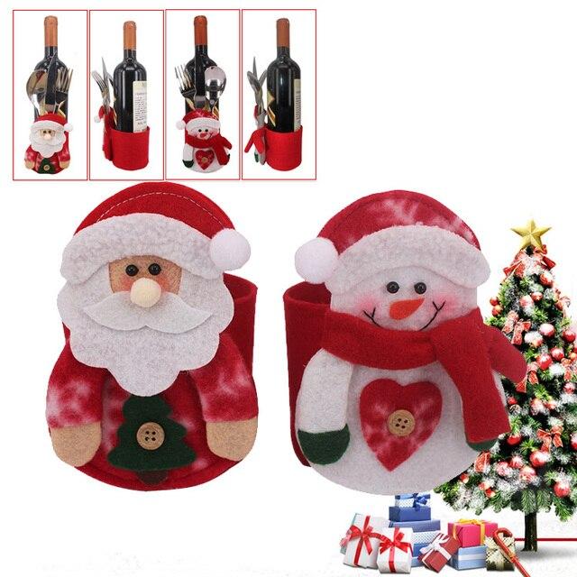 2pcs fancy santa claus snowman wine bottle holder christmas decorations silverware holders pockets folks dinner table - Santa Snowman 2