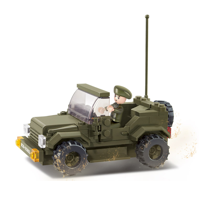 0296 121 Stücke Militär Jeep Konstruktor Modell Kit Blöcke Kompatibel Lego Steine Spielzeug Für Jungen Mädchen Kinder Modellierung Eine GroßE Auswahl An Waren
