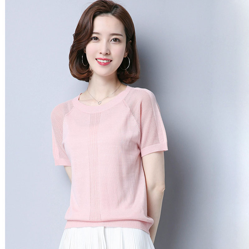 HSP2019 Hollow Out Tops Women Summer Fashion Short Sleeve Pullover Knitted Sweater Jumper Top Thin Leisure Knit Wear Sweater
