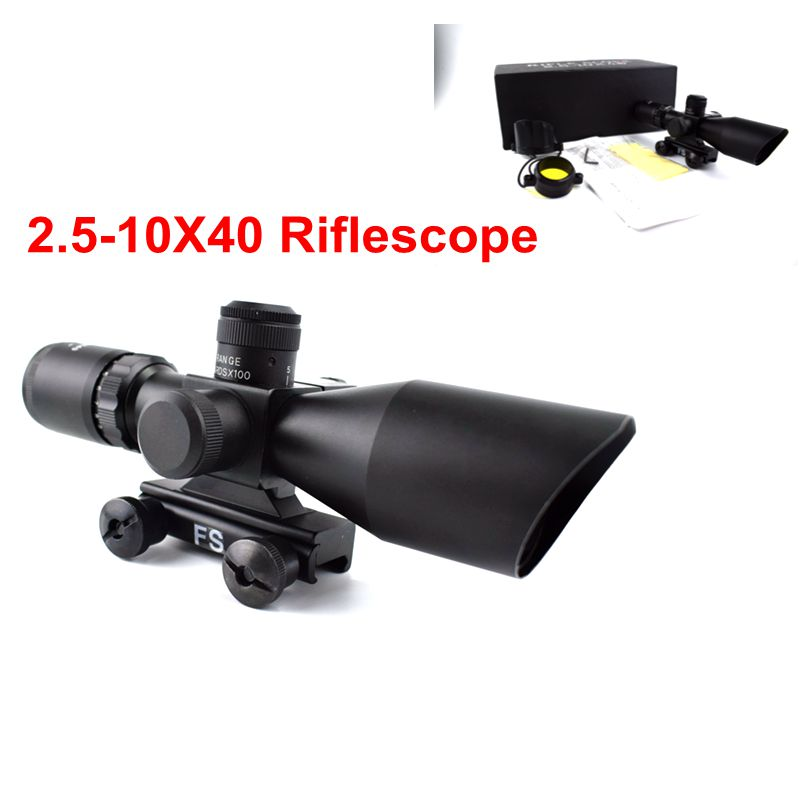 2.5-10 x 40 Tactical Laser Sights For Guns Gun Laser Red Laser Sight Scope Hunting Optics Riflescope 11mm/20mm Rail Use цена