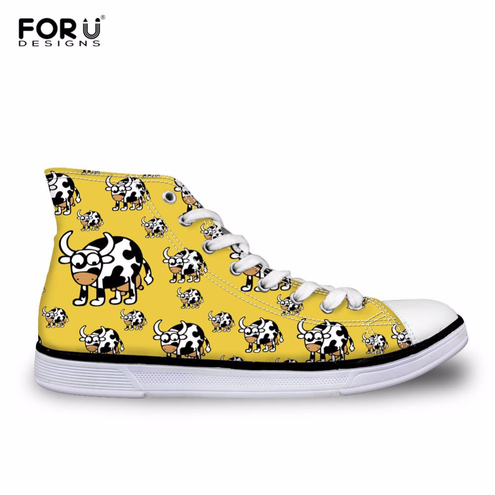 FORUDESIGNS Casual High Top Canvas Shoes for Women 3D Animals Puzzle Printed High top Shoes Student
