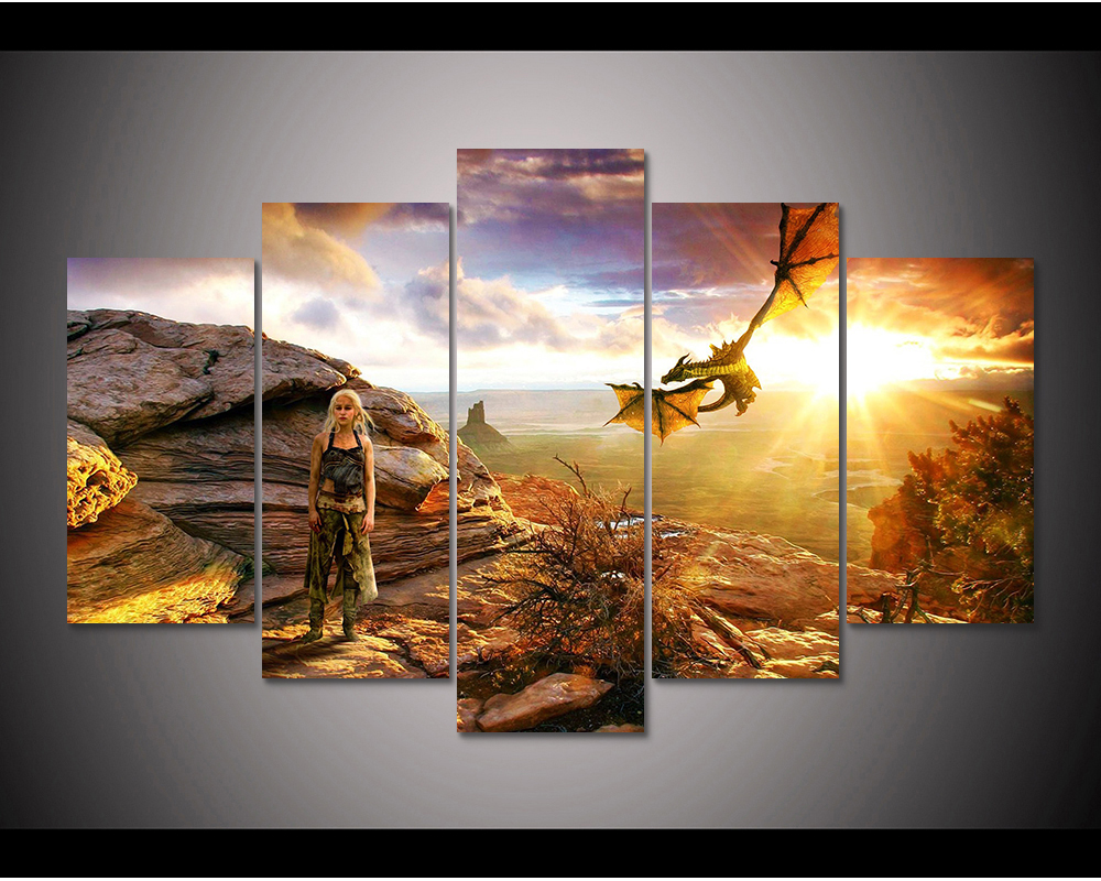 Us 12 0 50 Off Framed Hd Print 5pcs Game Of Thrones Daenerys Targaryen Canvas Art Painting Modern Home Decor Wall Art Picture Painting Pt1081 In