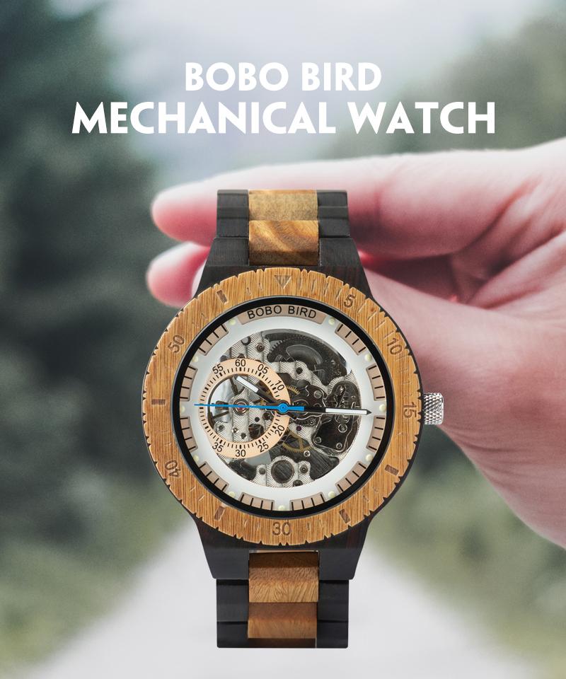Reloj mecánico de madera caja de diseño Retro 1