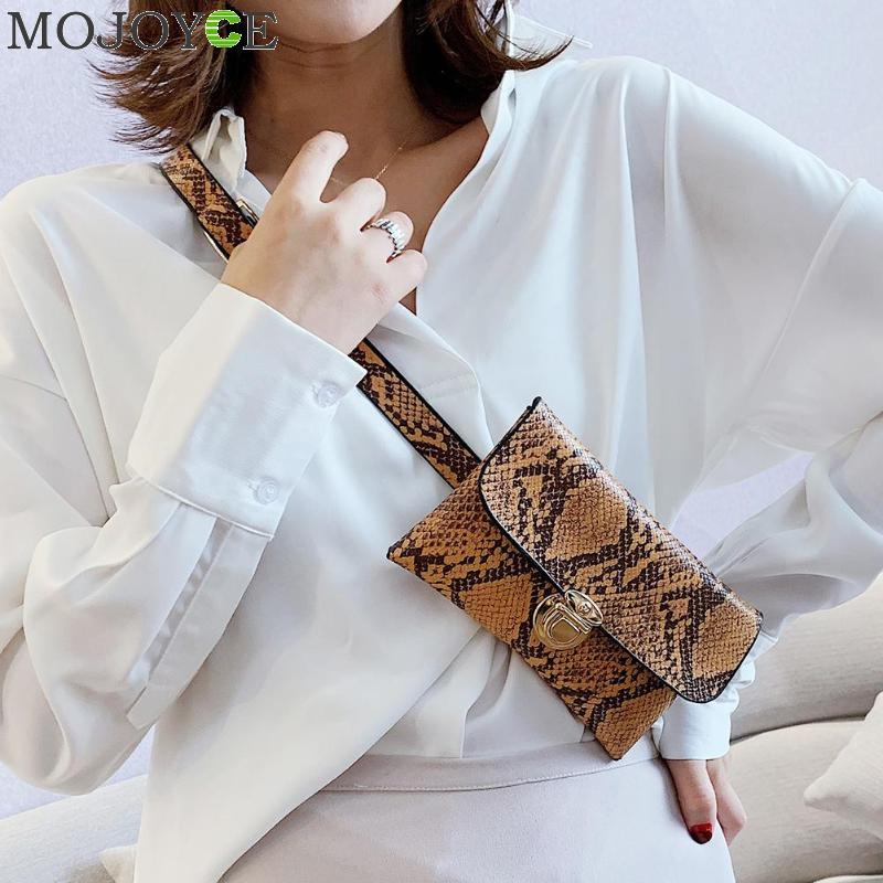 Women's Snake Skin Print Waist Bag Fashion Leather Serpentine Fanny Pack For Women Female Chain Envelope Shoulder Bag Belt