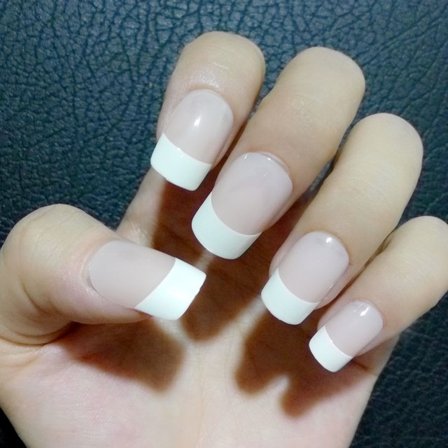 Classic French False Nails Tips Short Flat Top Fake Nails Natural ...