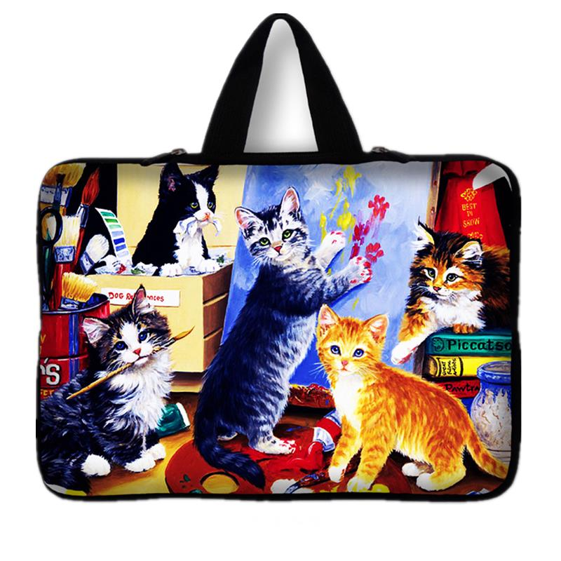 Cute Cat laptop bag PC handbag Soft sleeve 15 15.4 <font><b>15.6</b></font> inch For Macbook Ultrabook <font><b>Notebook</b></font> protective cover <font><b>Pouch</b></font> image