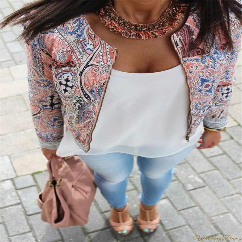 Kobiety moda Bomber kurtka z długim rękawem Zipper Fly garnitur znosić jesień Boho Mistery wzór etniczne styl w stylu Vintage Slim płaszcz
