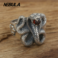 Vintage Mamba snake Ring With Red CZ Real 925 sterling silver 925 jewelry for Women men wedding ring fashion jewelry Thai Silver