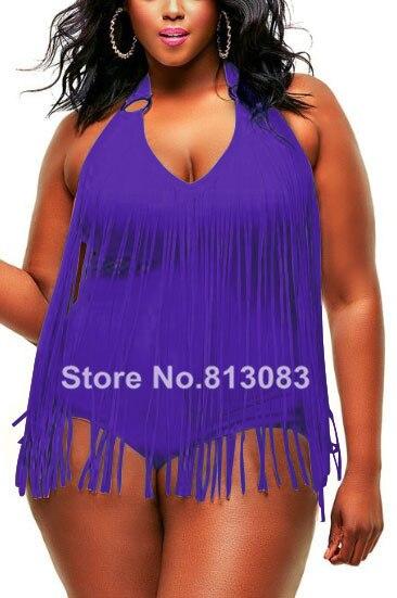 בתוספת גדילים בגדי ים סקסי V צוואר נשים בגד ים מרופד פרינג 'גדול גודל רחצה 7 צבעים