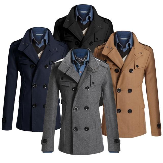 d1c29433a923 Men Jacket Funnel Neck Double Breasted Wool Bend Coats Slim Formal Dress  Peacoat Windbreaker Long Military Coat Winter Topcoat