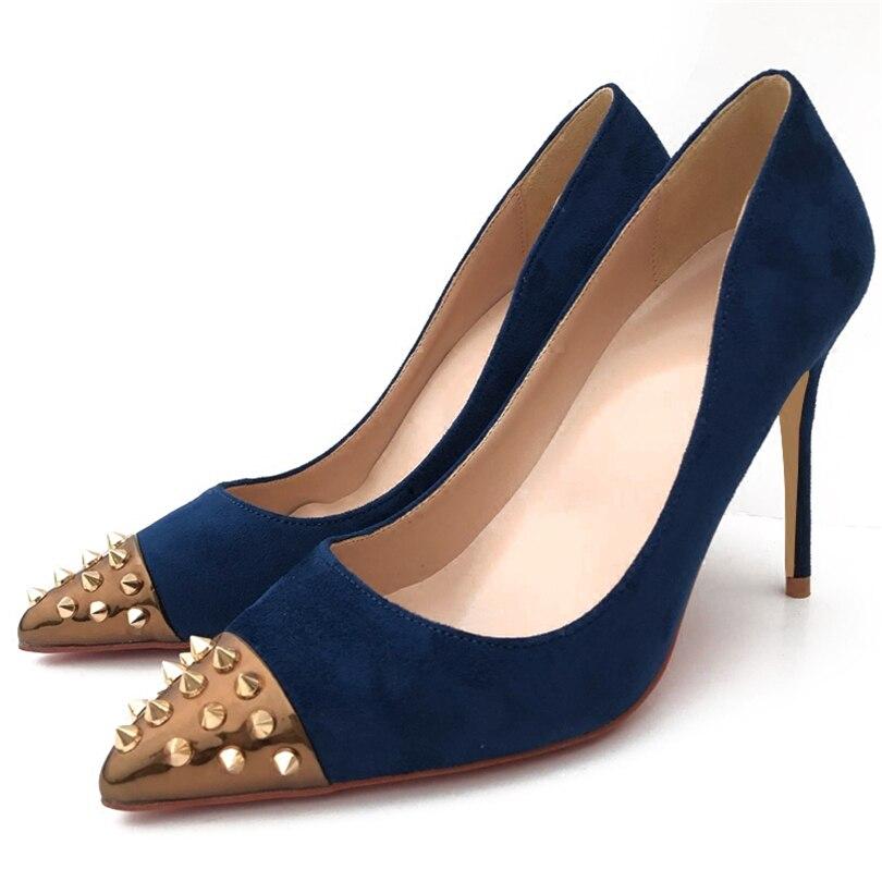 8cm 12cm Primavera Mujer Con Sexy Para Fiesta Puntiagudos Remaches Zapatos  Alto 10cm De Tacón Boda ... 17c7943d314b