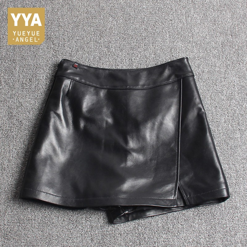 Fashion Women Asymmetric Shorts Skirts Top Quality Sheepskin Real Leather Shorts Casual Streetwear Ladies Slim Fit Shorts Skirts