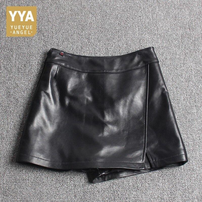 Décontracté Asymétrique Shorts Qualité Black Dames De Jupes Fit Véritable Slim En Short Mouton Streetwear Femmes Cuir Peau Mode Top O5qF44