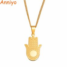 Anniyo 316 Stainless Steel Charm Hand Pendant Necklaces for Women Girls Gold Color Jewelry Gifts #055721(China)