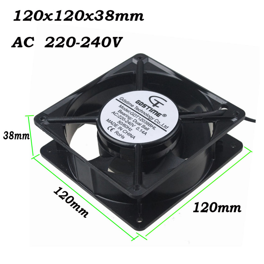 Gdstime 1 pcs Two Ball Bearing 220V 240V AC Fan 120mm Metal Case 2 Wires For PC Case System AC Cooling Fan 120x38mm 12038 12cm original delta afc1212de 12038 12cm 120mm dc 12v 1 6a pwm ball fan thermostat inverter server cooling fan