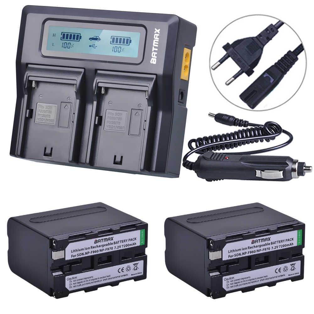 2 قطعة 7200mAh NP F970 NP-F960 مؤشر الطاقة بطارية Batterie + الترا سريع LCD المزدوج شاحن أجهزة سوني NP F970 F960 F550 F570 QM91D