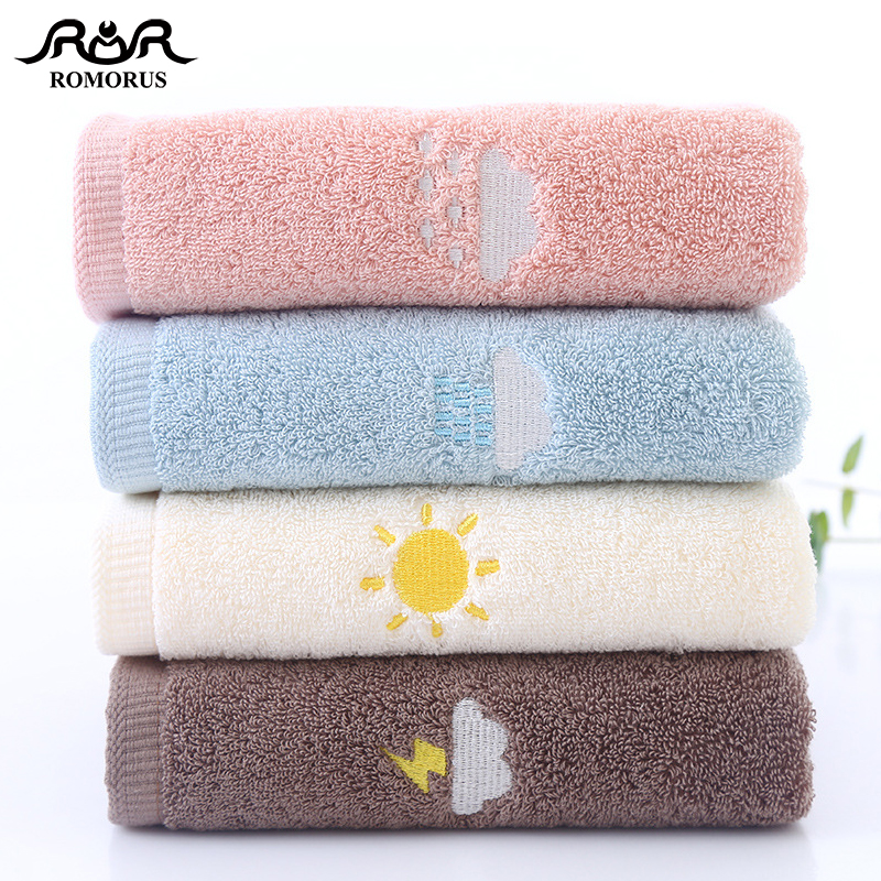 ROMORUS New Design Thick 100% Cotton Towels 500gsm Weather Symbol Embroidered Bath Face Towel for Adults Quality Gift Towels