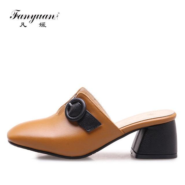 Fanyuan High Quality Ladies Simple Design High Heels Hoof Heels Mules Footwear  Woman Buckle Girl s Hot Sex High Heels Size 32-46 7488cb8cf43c