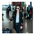 Bordado de lujo Suéter Chica Asiática 2016 Moda Ropa Casual Otoño Caliente Estilo Coreano Suelta Cardigan de Punto Suéter Ocasional
