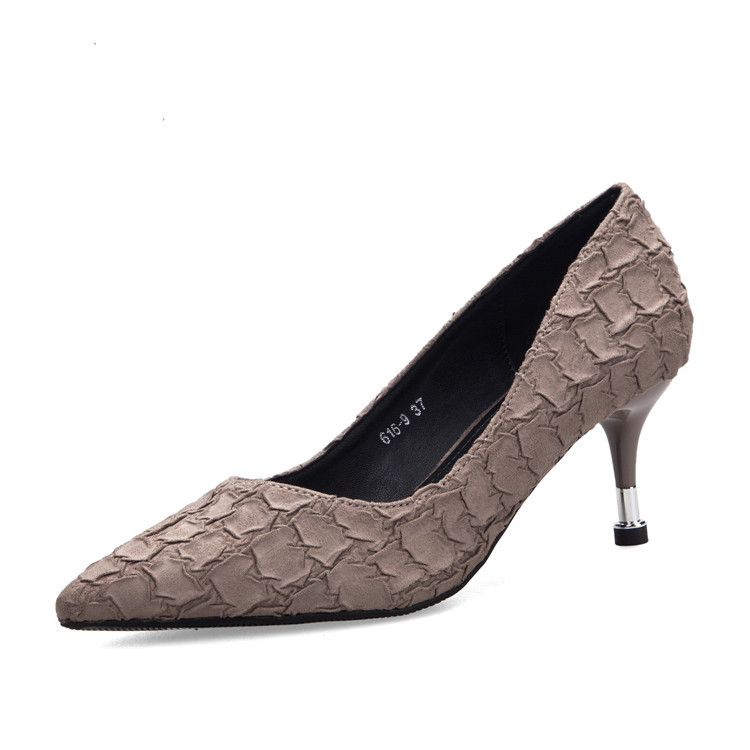 2019 new arrival top quality Women Pumps High Heels Thin Heels Wedding Shoes brown shoes snake
