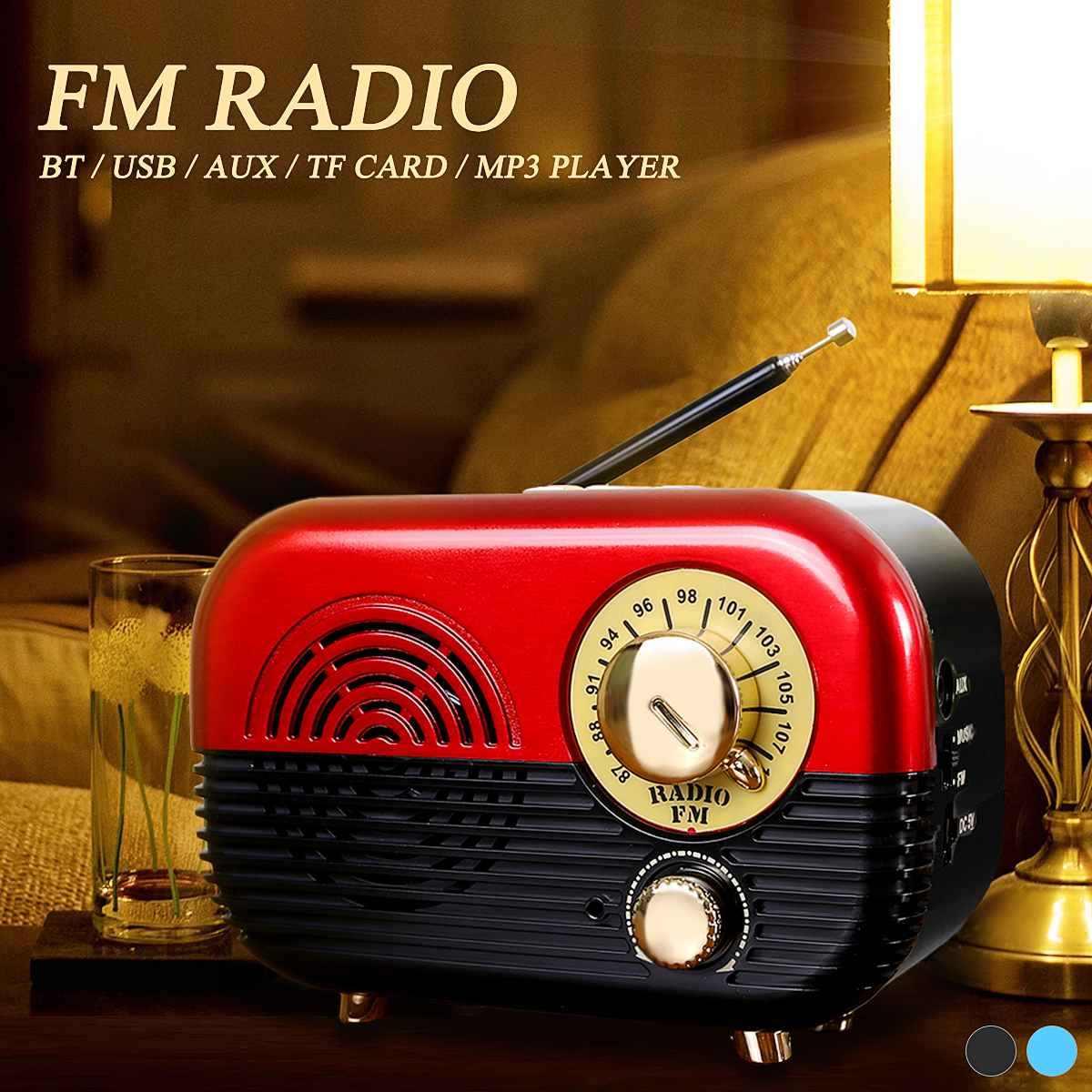5 W Mini USB portátil recargable Retro Vintage 87-108 Mhz FM Radio bluetooth AUX TF altavoz de la tarjeta reproductor de música