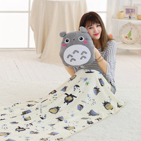 3 in 1 Stuffed Animal Totoro pillow blanket Sleeping Doll Kawaii Cartoon Plush Toys Present Toys Children Baby Birthday Gift