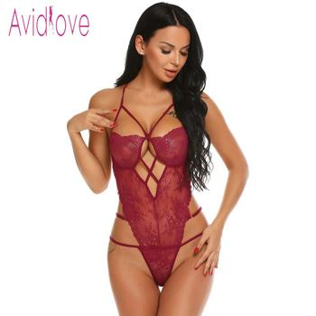 Avidlove Women Bodystocking Costumes One Piece Sexy Lingerie Bodysuit Halter Sheer Lace Teddy Nightwear 2