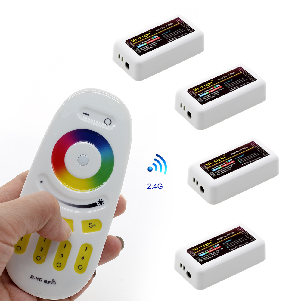 Mi.Light RGBW Touch Remote Control 2.4G 4-Zone + 4Pcs Touch Screen RF Strip Controller For 5050 3528 RGB RGBW LED Strip milight remote wifi 4x rgbw led controller group control 2 4g 4 zone wireless rf touch for 5050 3528 rgbw led strip light