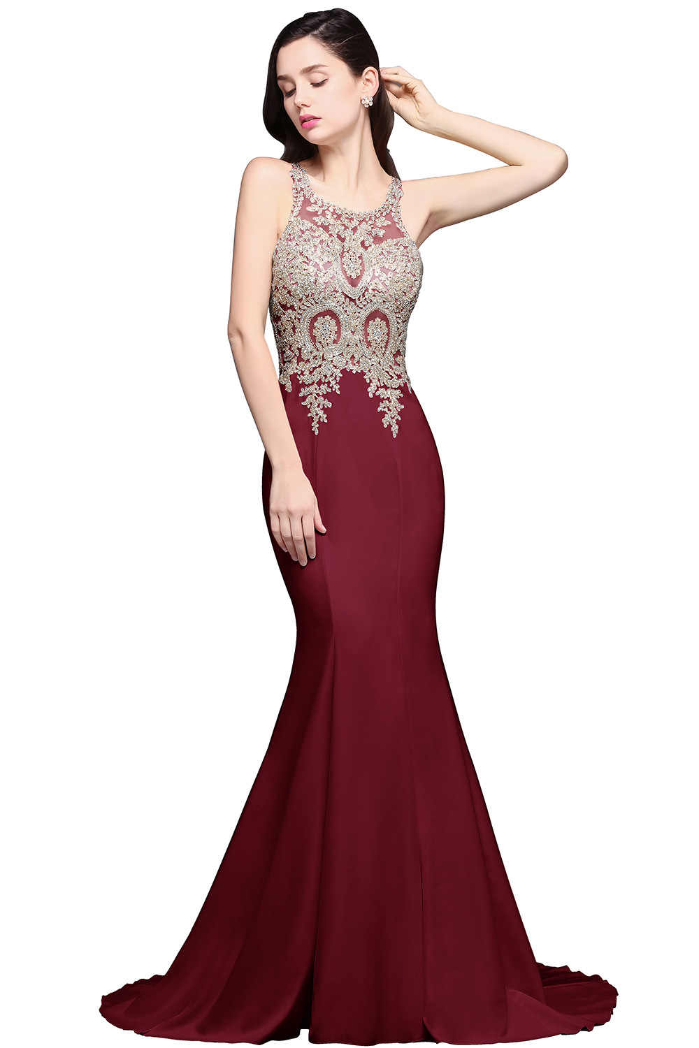 c51d8044003fe vestido de festa Illusion Crew Neck White Mermaid Long Evening Dresses 2017  Lace Applique Beaded Formal Party Prom Dresses