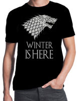 Game of Thrones Winter Is Here Stark Winterfell Wolf GOT Fantasy Black T-Shirt High Quality Casual Printing Tee T Shirt