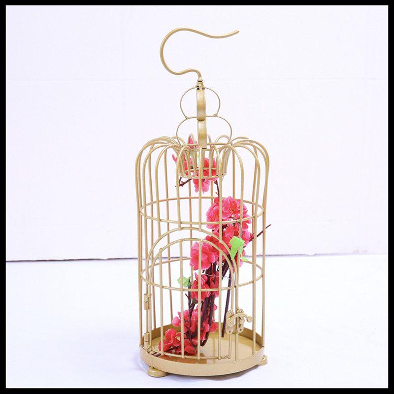 1 pièces Simple fer forgé décoratif oiseau cage décoration or mariage oiseau cage photographie accessoires