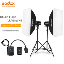 600Ws Godox Kit de lumière Flash Studio stroboscopique 600 W éclairage photographique stroboscopes, supports de lumière, déclencheurs, boîte souple