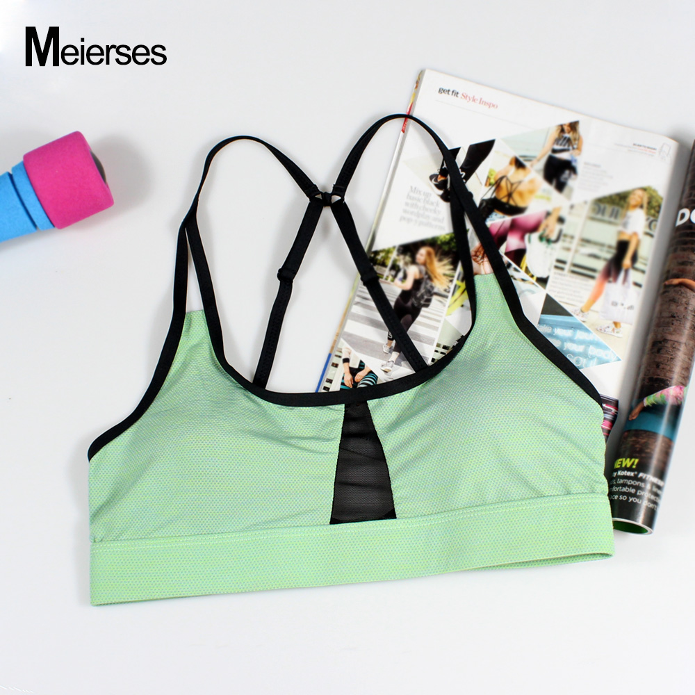 MEIERSES Women Gym Bra For Sports Running Fitness Adjustable Spaghetti Straps Tank Top Fresh green Yoga Bras free shipping chic spaghetti strap solid color tank top 3 4 sleeve embroidered pleated dress twinset for women
