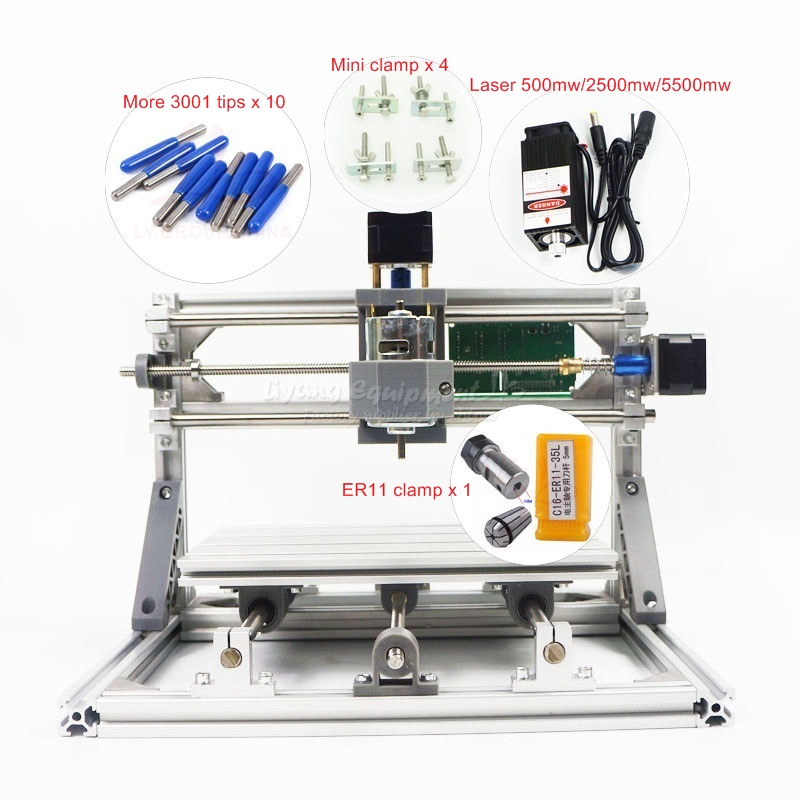 DIY Mini CNC 2418 PRO 500mw 2500mw 5500mw laser head engraving machine Pcb Milling router Wood Carving machine eur free tax cnc 6040z frame of engraving and milling machine for diy cnc router