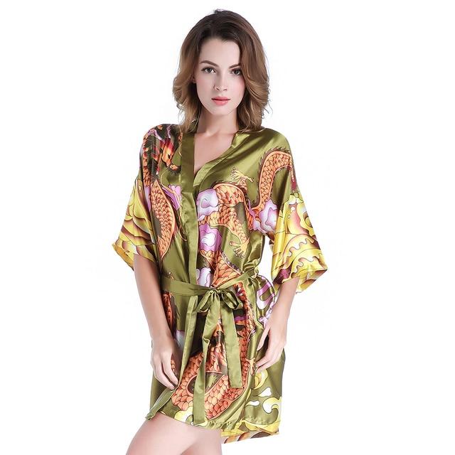 Stil Animal Chinesischen Print Weibliche Bademäntel Kleid Vintage N0wOP8nkX