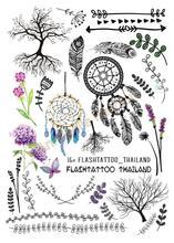 A6080-204 Big Black Tatuagem Taty Body Art Temporary Tattoo Stickers Indian Tribe Floral Feathers Tree Glitter Tatoo Sticker