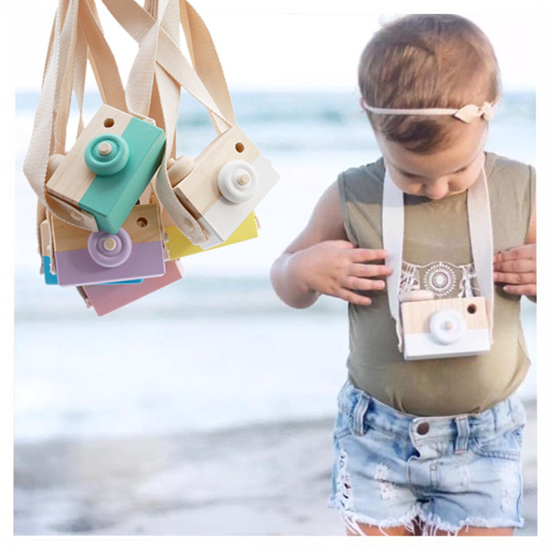Cute Wood Camera Camcorder Baby Cosplay Prop Photography Photo Taking Decoration Educational Children Hanging Neck Wooden Toys
