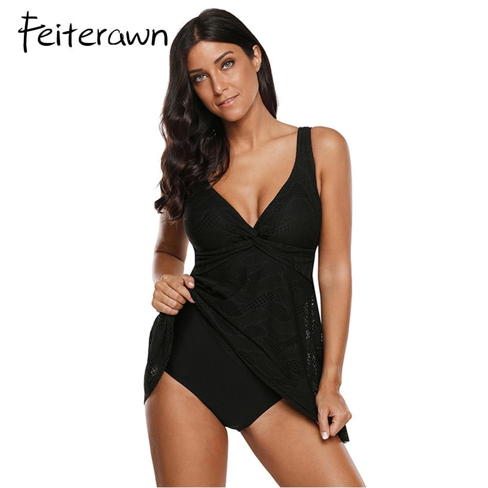 Feiterawn Black Lace One Piece Tankini Swimsuit Women Plus ...